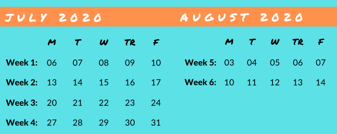 Summer Clinic Calendar